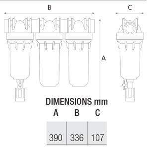 ابعاد فیلتر تصفیه آب ورودی ساختمان